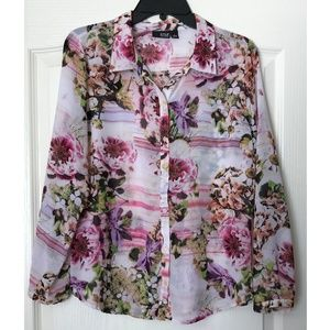 A.N.A Pink Floral Long Sleeve Blouse Size L